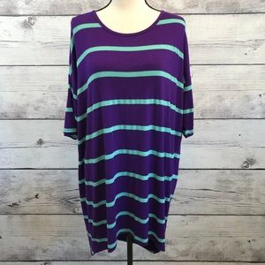 Lularoe Womens Irma Purple Teal Striped Knit Tunic
